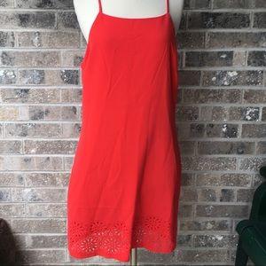 BANANA REPUBLIC Laser Cut Red Dress 14 NWT